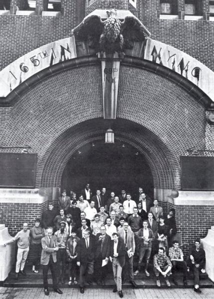 9 Evenings artists in 1966, outside The 69th Regiment Armory, New York