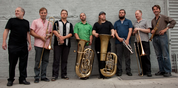 TILT SIXtet and friends (L to R - Anthony Coleman, Chris McIntyre, Russ Johnson, John Altieri, Joe Exely, Nate Wooley, Curtis Hasselblring, Chris Jonas)